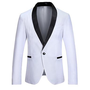 رخيصةأون سترات و بدلات الرجال-رجالي أبيض أسود نبيذ M L XL سترة ألوان متناوبة V رقبة / كم طويل
