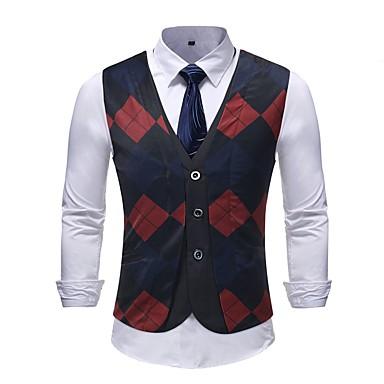 رخيصةأون سترات و بدلات الرجال-رجالي التقزح اللوني XXXL XXXXL 5XL Vest قياس كبير أساسي ألوان متناوبة V رقبة نحيل / كم قصير / نصف رسمي