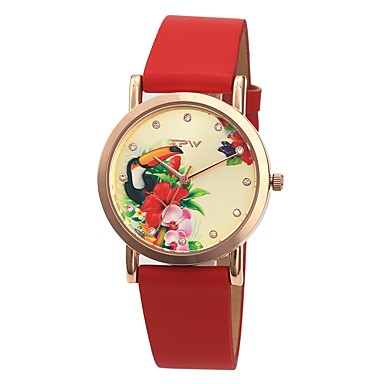 نسائي ساعة فستان ياباني كوارتز ياباني جلد اصطناعي الأبيض / أحمر / الوردي 30 m مقاوم للماء جميل إبداعي مماثل سيدات أنيق - أرجواني أحمر زهري سنة واحدة عمر البطارية