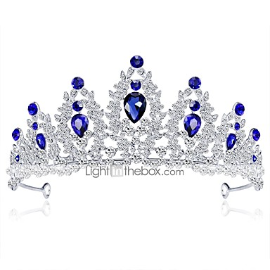 olcso Hajékszerek-Női Előírásos Elegáns Strassz Ezüstözött Ötvözet Kocka cirkónia Diadémek homlok Crown Esküvő Parti / Diadémek