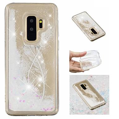 Недорогие Чехлы и кейсы для Galaxy S-Кейс для Назначение SSamsung Galaxy S9 / S9 Plus / S8 Plus Движущаяся жидкость / С узором / Сияние и блеск Кейс на заднюю панель Перья / Сияние и блеск Мягкий ТПУ