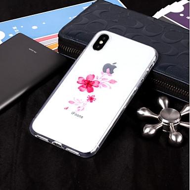 voordelige iPhone-hoesjes-hoesje Voor Apple iPhone X / iPhone 8 Plus / iPhone 8 IMD / Transparant / Patroon Achterkant Bloem Zacht TPU