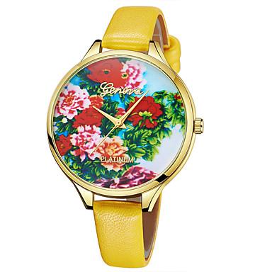 Geneva نسائي ساعة المعصم كوارتز جلد بني / بنفجسي / الأصفر تصميم جديد ساعة كاجوال كوول مماثل سيدات كاجوال موضة - أصفر بني أزرق سنة واحدة عمر البطارية