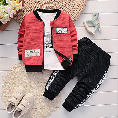 cheap Baby & Toddler Boy-Baby Boys' Casual / Basic Daily / Sports Black & Red Jacquard Embroidered Long Sleeve Regular Regular Cotton / Linen Clothing Set Green / Toddler