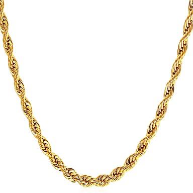 رجالي قلادات ضيقة حبل سلسلة الثعلب سلسلة مارينر موضة الفولاذ المقاوم للصدأ أسود ذهبي فضي 55 cm قلادة مجوهرات 1PC من أجل هدية مناسب للبس اليومي