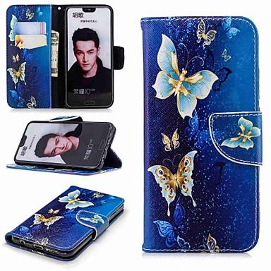 Недорогие Чехлы и кейсы для Huawei-Кейс для Назначение Huawei Honor 7X / Honor 7C(Enjoy 8) / Honor 6X Кошелек / Бумажник для карт / со стендом Чехол Бабочка Твердый Кожа PU
