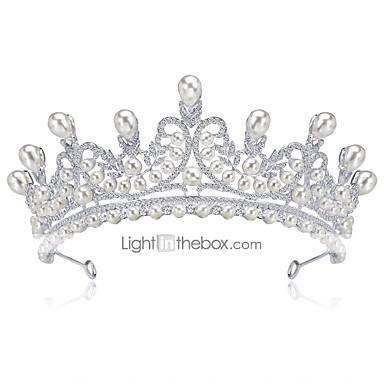 olcso Hajékszerek-Női Előírásos Elegáns Strassz Ezüstözött Hamis gyémánt Kocka cirkónia Diadémek homlok Crown Esküvő Parti / Diadémek