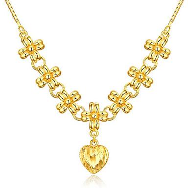 نسائي عقد قلادة سحر كلاسيكي قلب سيدات أنيق الآسيوي ترف نحاس مطلية بالذهب ذهبي 45 cm قلادة مجوهرات 1PC من أجل زفاف حفل / مساء