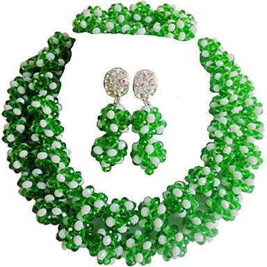 نسائي متعدد الطبقات مجموعة مجوهرات النمسا، البلورة MOON سيدات, موضة, الأفريقي تتضمن قلادة السواحل أخضر / أزرق / زهر فاقع من أجل زفاف / أقراط