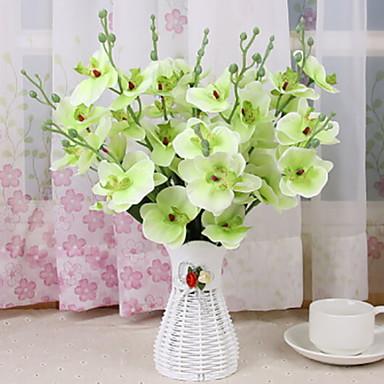 زهور اصطناعية 1 فرع كلاسيكي زهري الأوركيد / السحلبية أزهار الطاولة