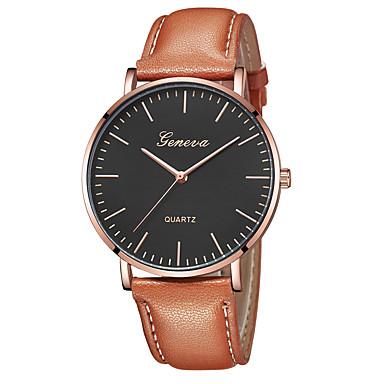 Geneva نسائي ساعة المعصم كوارتز جلد أسود / بني تصميم جديد ساعة كاجوال كوول مماثل كاجوال موضة - أسود / أبيض ذهبي روزي أبيض / البيج سنة واحدة عمر البطارية