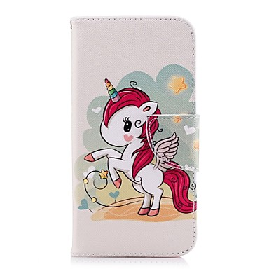Недорогие Кейсы для iPhone X-Кейс для Назначение Apple iPhone X / iPhone 8 Pluss / iPhone 8 Кошелек / Бумажник для карт / со стендом Чехол единорогом Твердый Кожа PU
