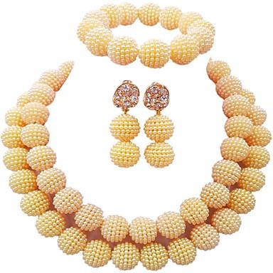 نسائي متعدد الطبقات مجموعة مجوهرات كرة سيدات, موضة تتضمن أساور حبلا أخضر / زهري / زهر فاقع من أجل زفاف / أقراط