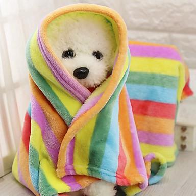 القوارض كلاب قطط الأسرّة منشفة بطانيات قماش قطيفة المحمول مصغرة الدفء ألوان متناوبة بقع قوس قزح