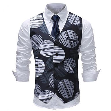 رخيصةأون سترات و بدلات الرجال-رجالي أسود XXXL XXXXL 5XL Vest قياس كبير منقط / هندسي V رقبة