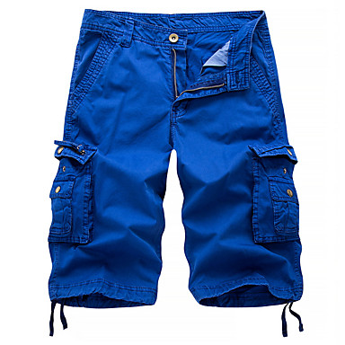 baratos Calças Masculinas-Homens Moda de Rua Militar Para Noite Chinos Shorts Calças de carga Calças Sólido Preto Azul Vermelho 30 31 32
