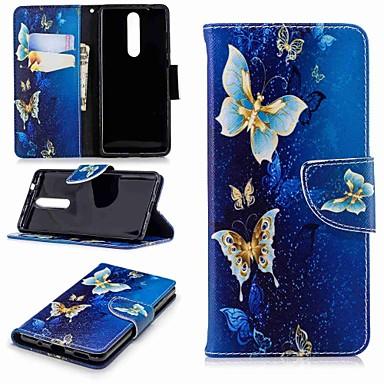 Недорогие Чехлы и кейсы для Nokia-Кейс для Назначение Nokia Nokia 8 / Nokia 6 2018 / Nokia 2.1 Кошелек / Бумажник для карт / со стендом Чехол Бабочка Твердый Кожа PU