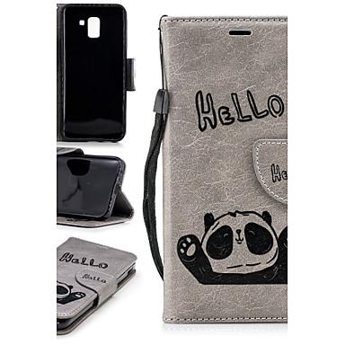 غطاء من أجل Samsung Galaxy J7 (2017) / J6 / J5 (2017) محفظة / حامل البطاقات / مع حامل غطاء خلفي باندا قاسي TPU