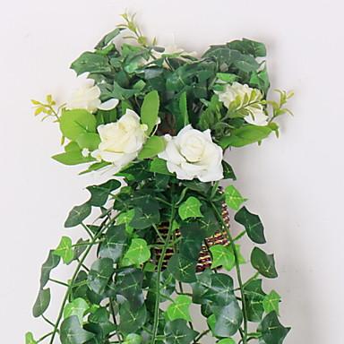 زهور اصطناعية 1 فرع معلقة على الحائط النمط الرعوي الورود سلة زهور