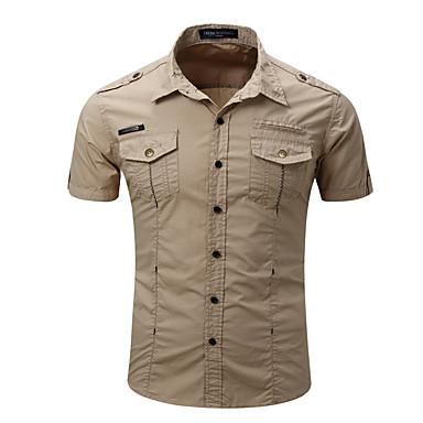 رخيصةأون قمصان رجالي-رجالي قميص لون سادة أبيض M / كم قصير