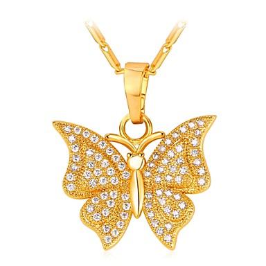 نسائي مكعب زركونيا قلائد الحلي طويل فراشة سيدات موضة نحاس ذهبي فضي 55 cm قلادة مجوهرات 1PC من أجل هدية مناسب للبس اليومي