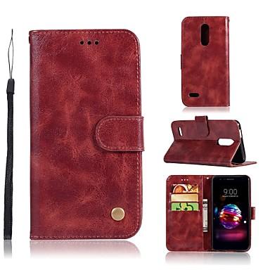 Недорогие Чехлы и кейсы для LG-Кейс для Назначение LG LG X Style / LG X Power / LG V30 Кошелек / Бумажник для карт / со стендом Чехол Однотонный Твердый Кожа PU / LG G6