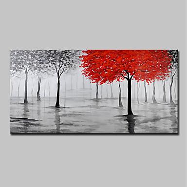 رخيصةأون جدارية-هانغ رسمت النفط الطلاء رسمت باليد - مناظر طبيعية الأزهار / النباتية الحديث بدون إطار داخلي / توالت قماش
