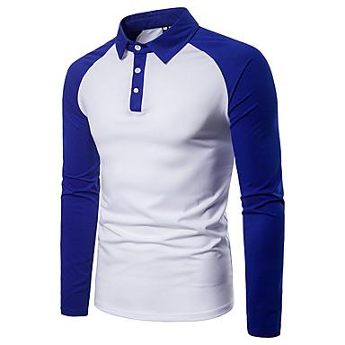 رخيصةأون بولو رجالي-رجالي أساسي بقع بولو ستايل, ألوان متناوبة قبعة القميص أسود و أبيض / كم طويل