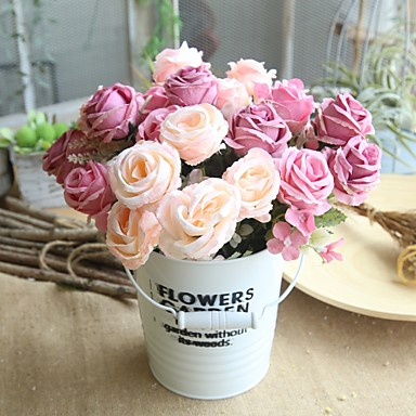 زهور اصطناعية 1 فرع كلاسيكي زهري Wedding Flowers الورود أزهار الطاولة