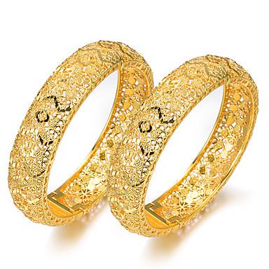 2pcs نسائي أساور أساور اصفاد كلاسيكي فراغ خارجي خلاق سيدات ترف عرقي مطلية بالذهب مجوهرات سوار أصفر من أجل مناسب للحفلات هدية