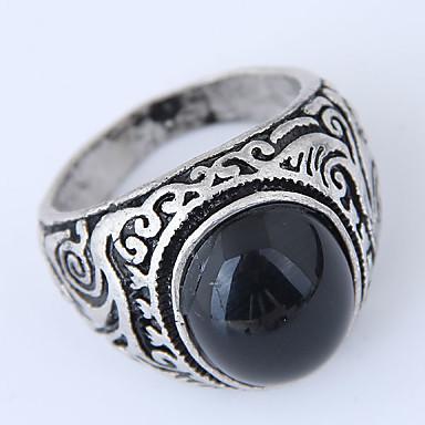 رخيصةأون خواتم-رجالي خاتم 1PC أسود أحمر داكن راتينج سبيكة دائري بسيط عتيق أوروبي فضفاض مناسب للبس اليومي مجوهرات قديم