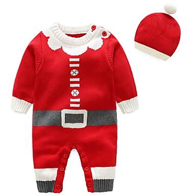 voordelige Babyrompers-Baby Meisjes Street chic Print Lange mouw Katoen Overall & Jumpsuit Klaver / Peuter