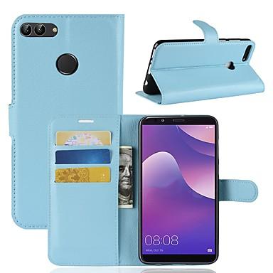 غطاء من أجل Huawei Huawei Y9 (2018)(Enjoy 8 Plus) / Huawei Y7 Prime(Enjoy 7 Plus) / Huawei Y7 Prime (2018) محفظة / حامل البطاقات / قلب غطاء كامل للجسم لون سادة قاسي جلد PU
