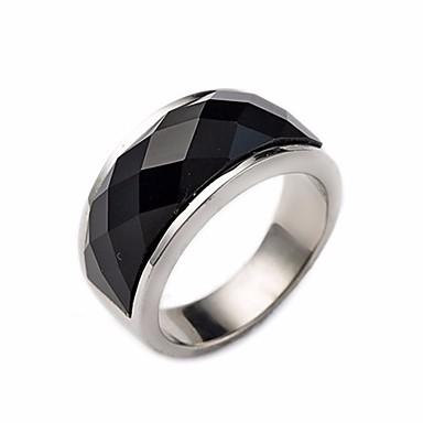 الزوجين خاتم السبج زجاج بركاني 1PC أسود الصلب التيتانيوم Geometric Shape سيدات / أنيق / هندسي مناسب للبس اليومي / مدرسة مجوهرات