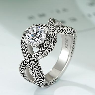 olcso Ezüst ékszerek-Női Gyűrű 1db Ezüst Réz Ezüstözött Hamis gyémánt hölgyek Szokatlan Egyedi Farsang Szabadság Ékszerek Régies stílus Crossover végtelenség Menő