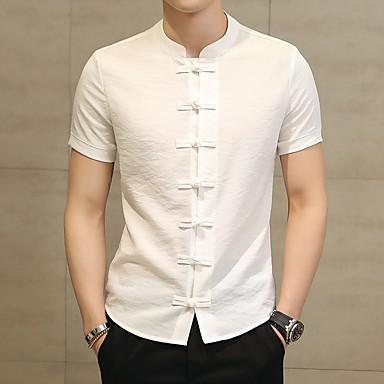 رخيصةأون قمصان رجالي-رجالي النمط الصيني قياس كبير - قطن / كتان قميص, لون سادة رقبة طوقية مرتفعة / كم قصير
