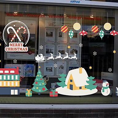 فيلم نافذة وملصقات زخرفة عيد الميلاد كلاسيكي PVC ملصق النافذة