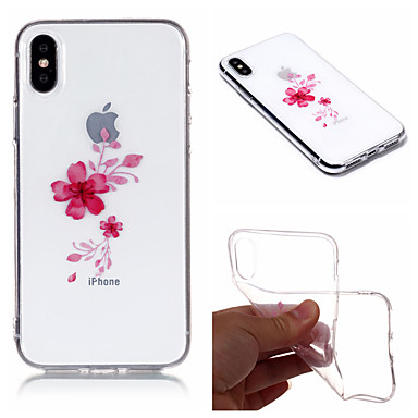 غطاء من أجل Apple iPhone X / iPhone 8 Plus / iPhone 8 IMD / نموذج غطاء خلفي زهور ناعم TPU