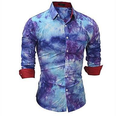 رجالي عمل بانغك & قوطي قياس كبير - قطن قميص, ألوان متناوبة / منقوش / كم طويل