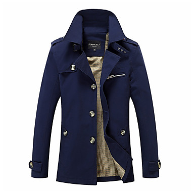 cheap Men's Outerwear-Men's Practice Street chic Winter / Fall & Winter Plus Size Regular Coat, Solid Colored Stand Long Sleeve Polyester Beige / Navy Blue / Army Green