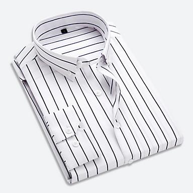 رخيصةأون قمصان رجالي-رجالي عمل الأعمال التجارية / أساسي قميص, مخطط ياقة كلاسيكية / كم طويل
