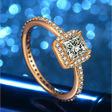 نسائي خاتم 1PC ذهبي مطلية بالذهب عيار 18 نحاس تقليد الماس مكعب سيدات تصميم فريد شائع زفاف رسمي مجوهرات ستايل HALO جميل