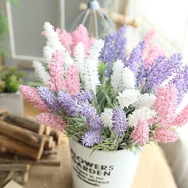 زهور اصطناعية 1 فرع كلاسيكي الزفاف النمط الرعوي أزرق فاتح أزهار الطاولة