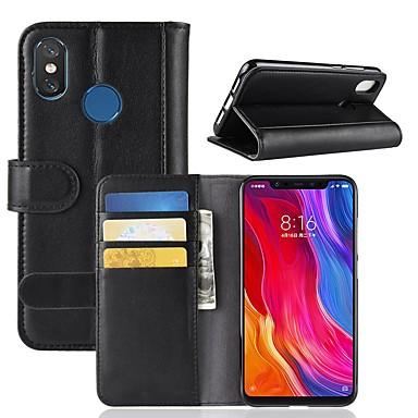 Недорогие Чехлы и кейсы для Xiaomi-Кейс для Назначение Xiaomi Xiaomi Redmi Note 5 Pro / Xiaomi Redmi Примечание 5 / Xiaomi Redmi Note 4X Кошелек / Бумажник для карт / со стендом Чехол Однотонный Твердый Настоящая кожа / Xiaomi Mi 6