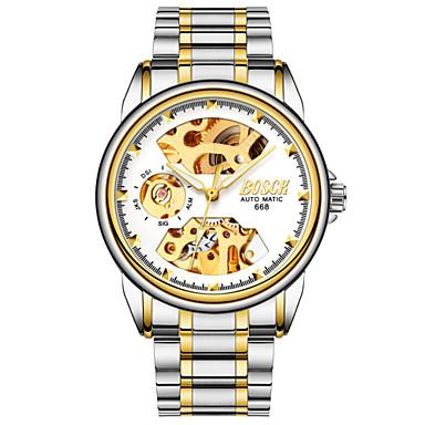 رخيصةأون ساعات الرجال-BOSCK رجالي ساعة الهيكل ووتش الميكانيكية داخل الساعة أتوماتيك ستانلس ستيل فضة 30 m مقاوم للماء نقش جوفاء قضية مماثل ترف هيكل عظمي - أسود أزرق ذهبي