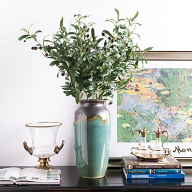 زهور اصطناعية 1 فرع كلاسيكي زهري نباتات أزهار الأرض