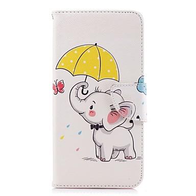 رخيصةأون حافظات / جرابات هواتف جالكسي A-غطاء من أجل Samsung Galaxy A5(2018) / A6 (2018) / A6+ (2018) محفظة / حامل البطاقات / مع حامل غطاء كامل للجسم فيل قاسي جلد PU