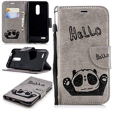 Недорогие Чехлы и кейсы для LG-Кейс для Назначение LG LG K10 2018 Кошелек / Бумажник для карт / со стендом Чехол Панда Твердый Кожа PU