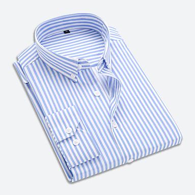رخيصةأون قمصان رجالي-رجالي عمل الأعمال التجارية / أساسي بقع قطن قميص, مخطط ياقة مع زر سفلي الأزرق والأبيض / أسود و أبيض / كم طويل