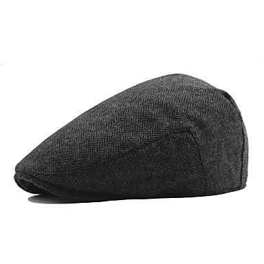 رخيصةأون قبعات الرجال-الخريف الشتاء بني أبيض أسود قبعة قلنسوة لون سادة رجالي قطن بوليستر,عتيق عمل